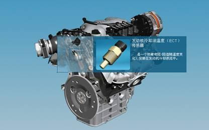图8冷却液温度传感器位置-电子信息工程系 汽车构造仿真实验高清图片